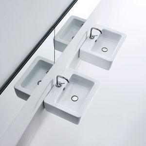 Kerasan White Bathroom Sink with One Hole Faucet - Single Sink Only