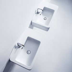 Kerasan White Bathroom Single Sink with One Hole Faucet
