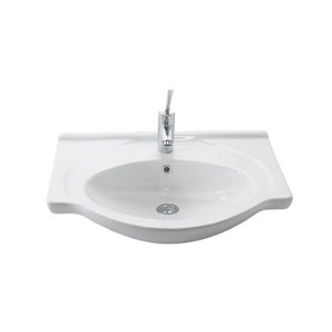 Etol Wall Mounted Bathroom Sink in Ceramic White