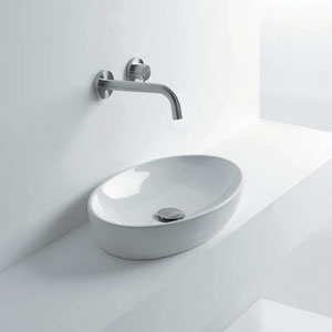 Oval Vessel Bathroom Sink in Ceramic White