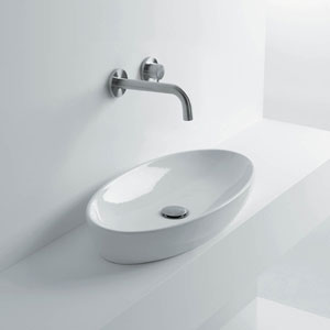 Rectangular Vessel Bathroom Sink in Ceramic White