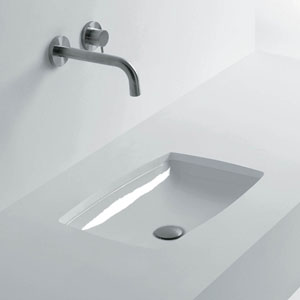 Rectangular Undermounted Bathroom Sink in Ceramic White
