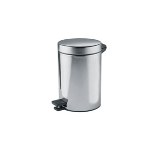 Hotellerie Waste Paper Basket with Cover and Pedal in Stainless Steel