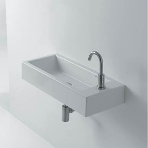 Ceramic Wall Mounted Bathroom Sink with Left Faucet