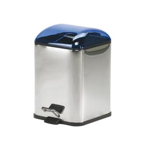 Karta 5363 Chrome Waste Basket w/ Transparent Blue Lid