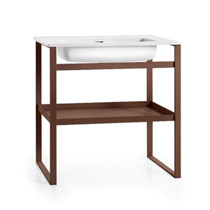 Linea White and Rust Free Standing Bathroom Sink