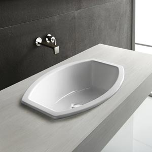 Losagna Element Ceramic White Countertop Sink with Faucet Hole