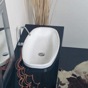 Ceramica White Small Self-Rimming Vessel Sink