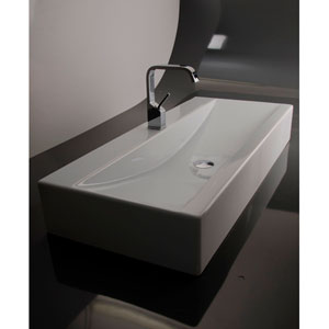 Ceramica Valdama White Bathroom Wall-Mounted or Countertop Sink