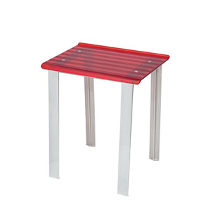 Leo 5370 Brushed Chrome Bath Stool w/ Red Seat