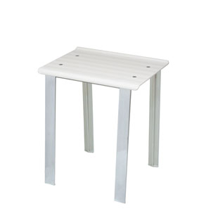 Leo 5370 Brushed Chrome Bath Stool w/ White Seat