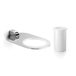 Muci Polished Chrome Holder with White Ceramic Tumbler