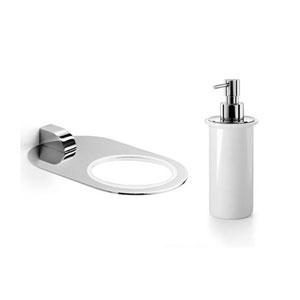Muci Polished Chrome Holder with White Ceramic Soap Dispenser