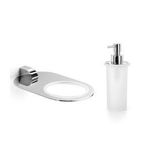 Muci Polished Chrome Holder with Frosted Glass Soap Dispenser
