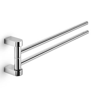 Muci Polished Chrome Swivel Double Bathroom Towel Rail