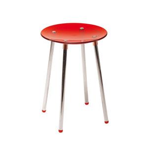 Noni 5365 Chrome Bath Stool w/ Red Seat