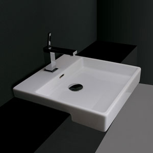 Ceramica Valdama White Bathroom Countertop Sink Only