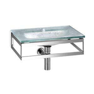 Linea Glass Silver Leaf Large Wall Mounted Bath Sink