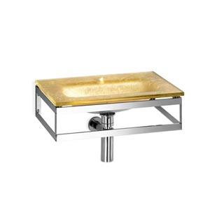 Linea Glass Gold Leaf Large Wall Mounted Bath Sink