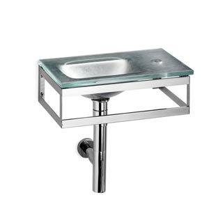 Linea Glass Silver Leaf Small Wall Mounted Bath Sink