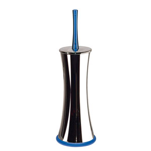 Pepe 5366 Chrome Toilet Brush Holder w/ Blue Handle and Base