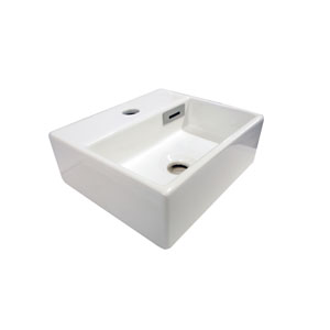 Linea White Bathroom Countertop Sink with One Hole Faucet