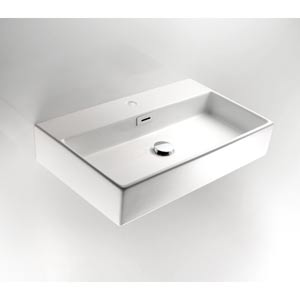 Linea Ceramic White Large Wall Mounted Bath Sink with Countertop