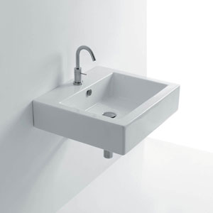 Quad Wall Mounted / Vessel Bathroom Sink in Ceramic White