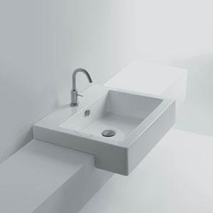 Quad Semi-recessed Bathroom Sink in Ceramic White