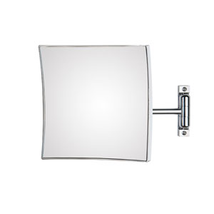 Discolo Polished Chrome Square Magnifying Makeup Mirror w/ 12.2-Inch Extension