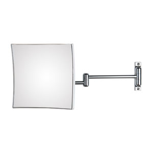 Discolo Polished Chrome Square Magnifying Makeup Mirror w/ 18.1-Inch Extension