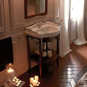 Kerasan White and Walnut Bathroom Vanity