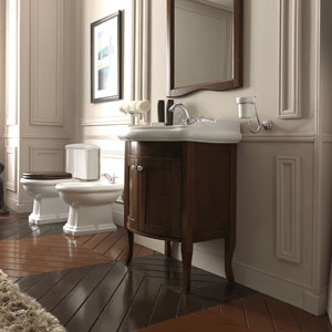 Kerasan White and Walnut Bathroom Vanity