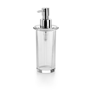 Saon Polished Chrome and Clear Glass Bathroom Soap Dispenser