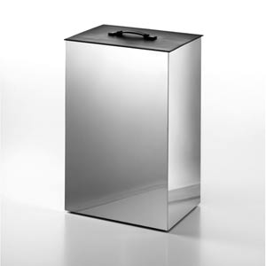 Complements Stainless Steel Large Laundry Basket with Black Leather Lid