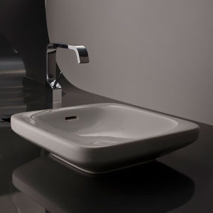 Ceramica Valdama White Bathroom Countertop Sink