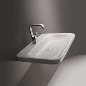 Ceramica Valdama White Bathroom Wall-Mounted or Countertop Sink Only
