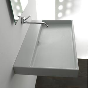 Urban 100 White Wall Mount or Countertop Bathroom Sink without Faucet Hole