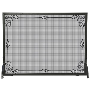 Black Single Panel Screen with Scroll Design
