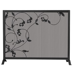 Black Single Panel Screen with Flowing Leaves