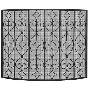Black Single Panel Ornate Screen