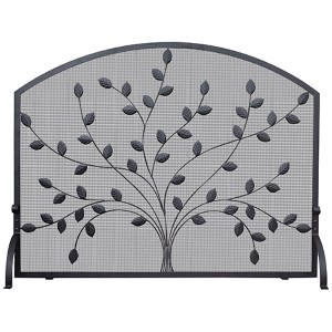 Black Arched Single Panel Screen with Leaves