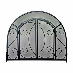 Black Wrought Iron Fireplace Screen