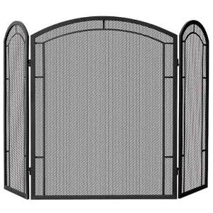 Black Wrought Iron Tri-Fold Screen
