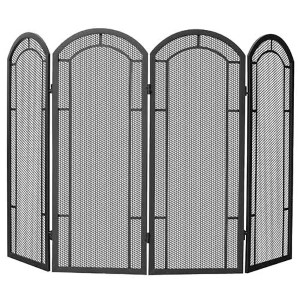 Black Four-Fold Wrought Iron Screen