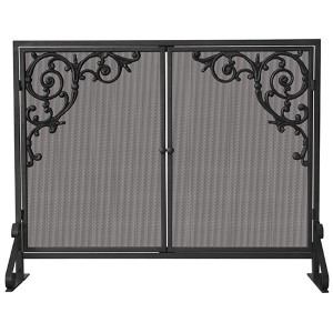 Black Single Panel Screen with Doors