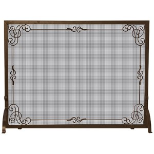 Bronze Single Panel Screen with Scroll Design