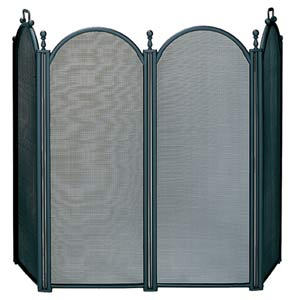 Four Fold Large Black Fireplace Screen With Woven Mesh