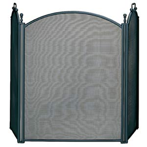 Three Fold Large Black Fireplace Screen With Woven Mesh