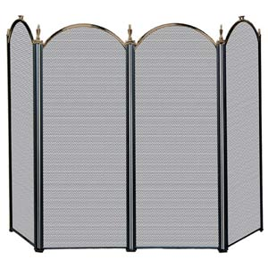 Four Fold Antique Brass and Black Fireplace Screen